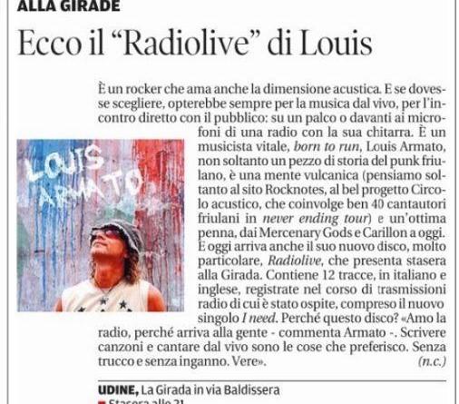 26 giugno 2015 - MESSAGGERO VENETO - Articolo di Nicola Cossar